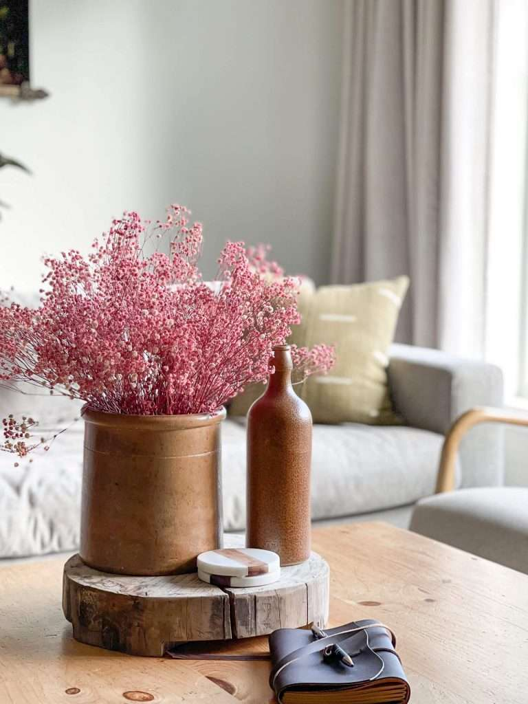 Fall home florals on a coffee table