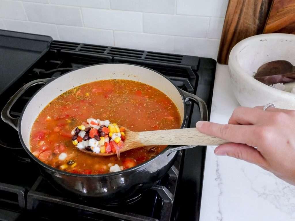Pozole pork soup on a stove