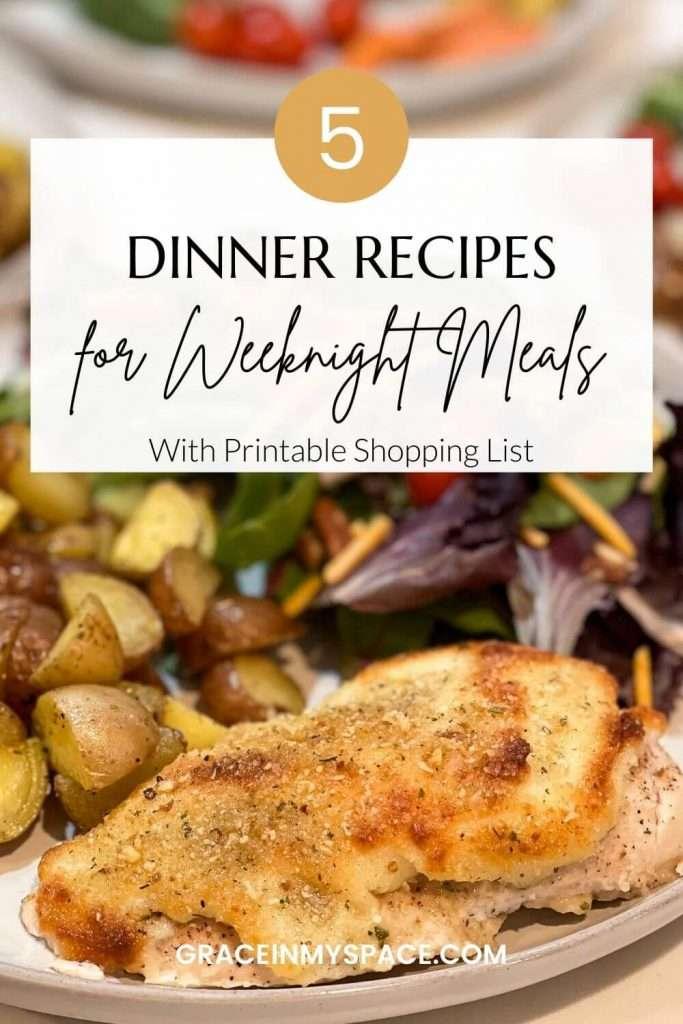 5 Easy Weeknight Dinners for Family | Dinner Planner