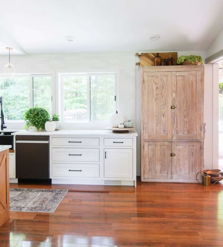DIY kitchen pantry cabinet for farmhouse kitchen ideas on a budget.