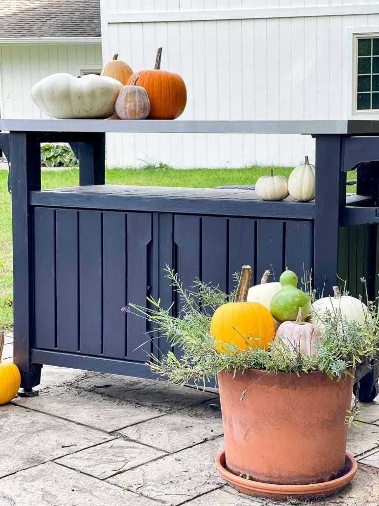 Fall outdoor bar cart with pumpkins.