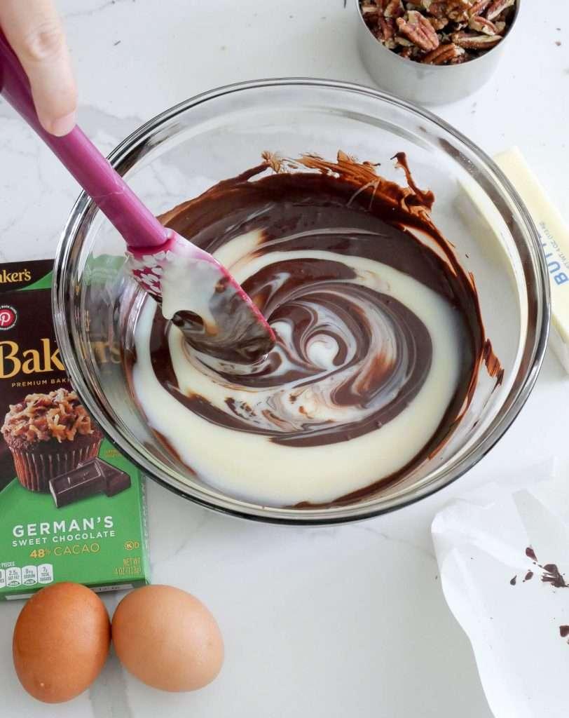 Chocolate and milk mixture.