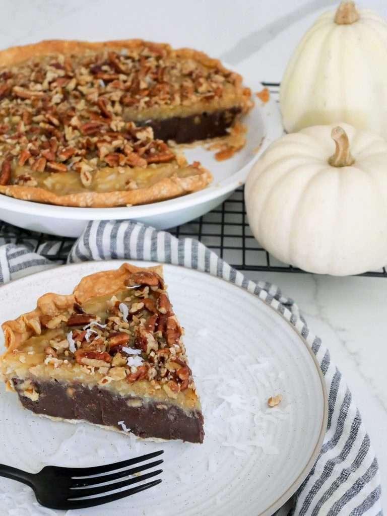 Coconut Pecan German Chocolate Pie with pumpkins.