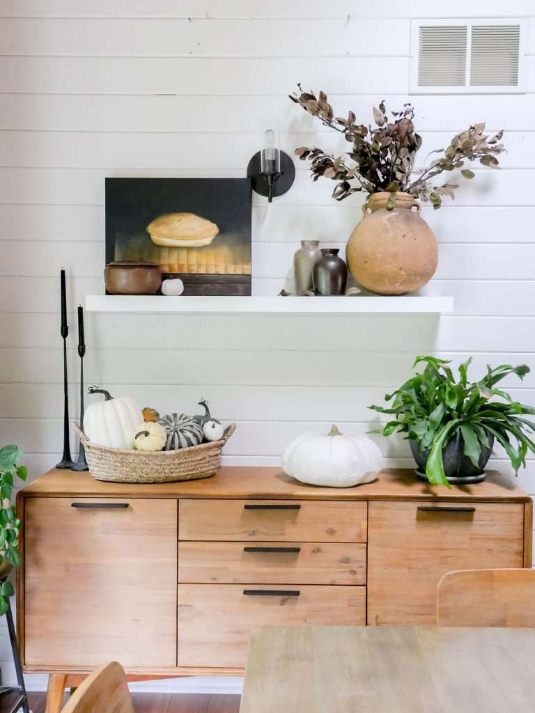 Shelf and buffet styled for fall.