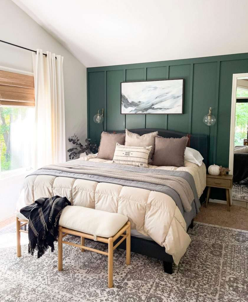 Fall bedroom with neutral fall decor ideas.
