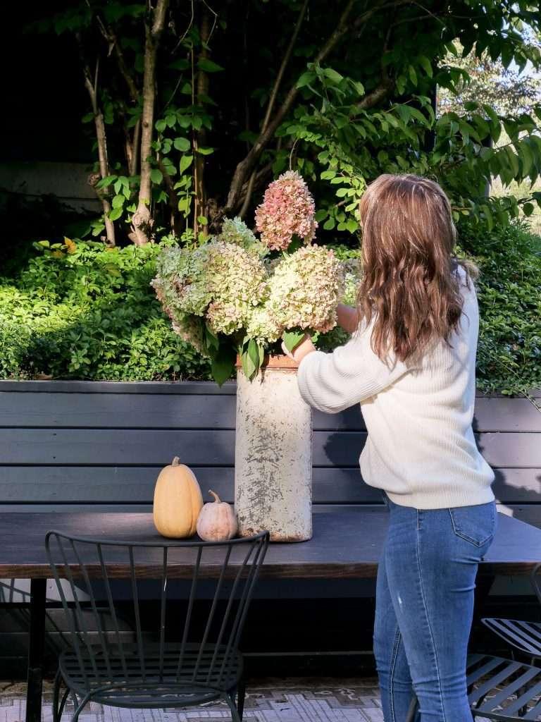 Hydrangea arrangement outdoors.