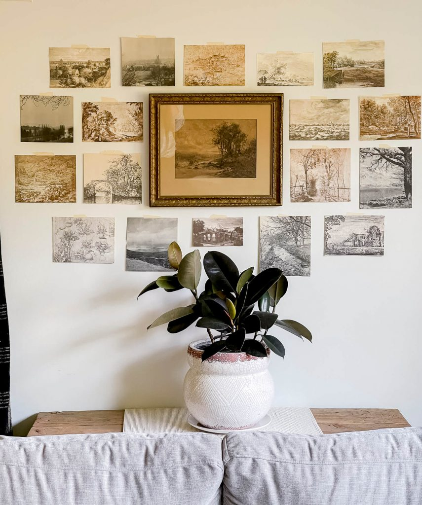 DIY gallery wall with vintage art