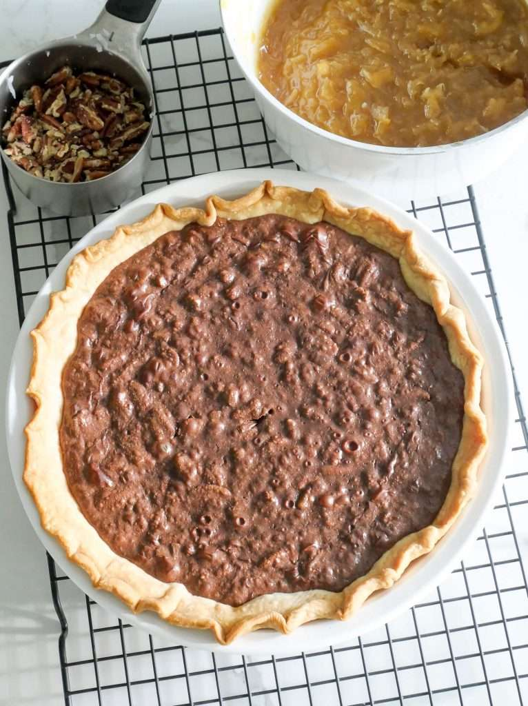 Baked Coconut Pecan German Chocolate Pie cooling on a rack.