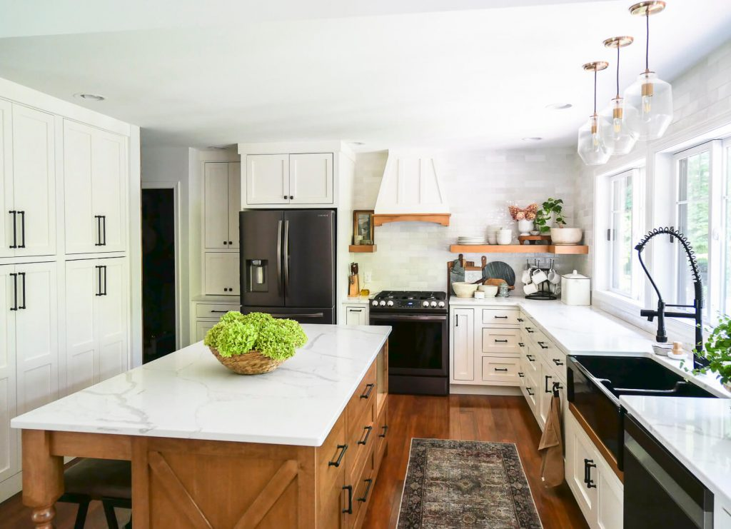 Dried hydrangeas in a farmhouse style kitchen.