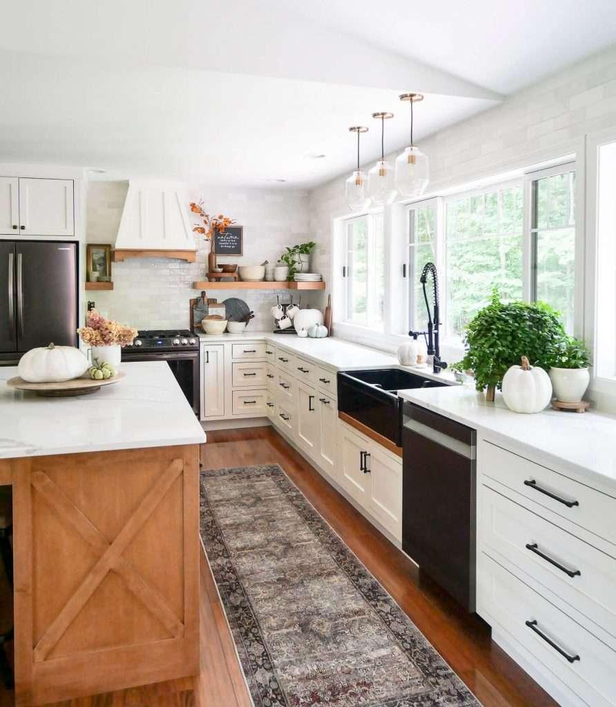 Kitchen island decor for farmhouse kitchen ideas on a budget.