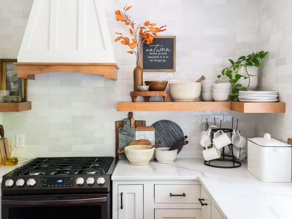 Open shelving in a farmhouse style kitchen