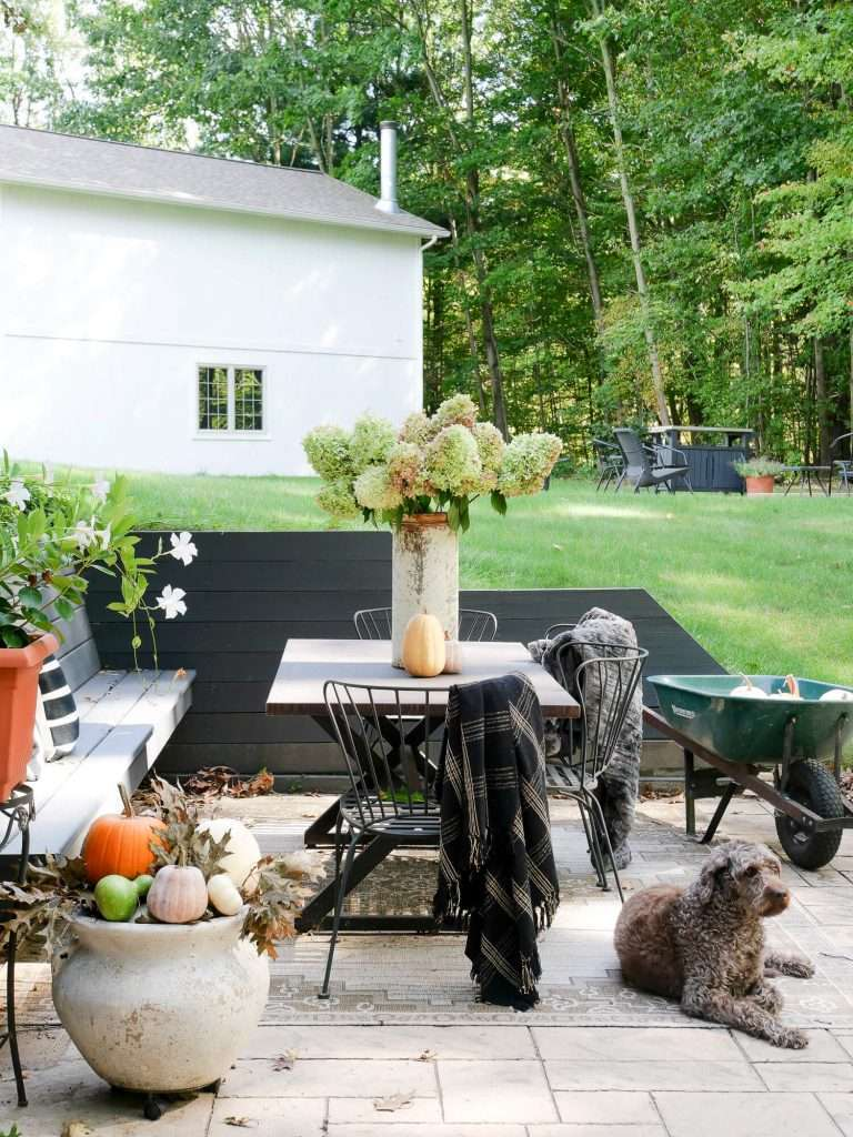 Cozy outdoor space with an outdoor dining table.